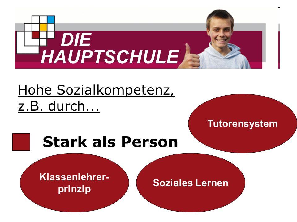 DIE HAUPTSCHULE Stark als Person Hohe Sozialkompetenz, z.B. durch...