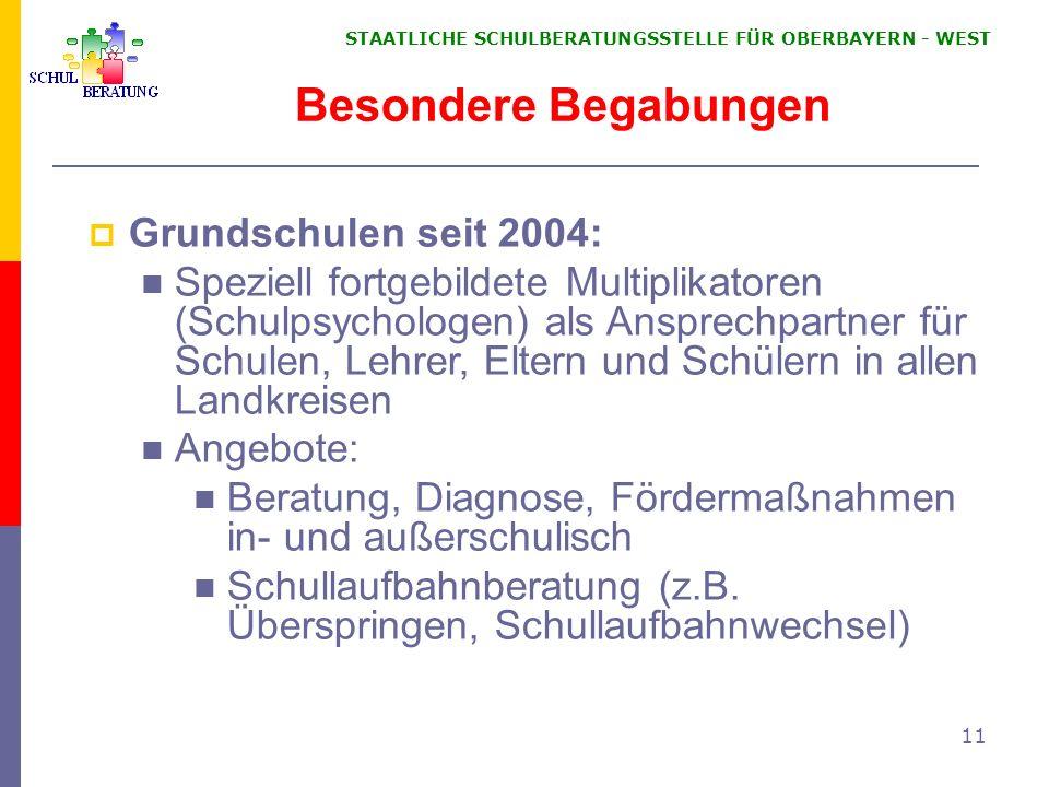 Besondere Begabungen Grundschulen seit 2004: