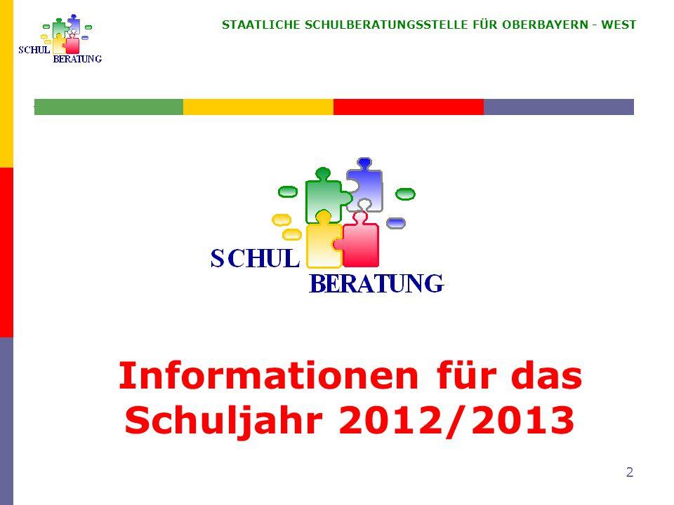 Informationen für das Schuljahr 2012/2013