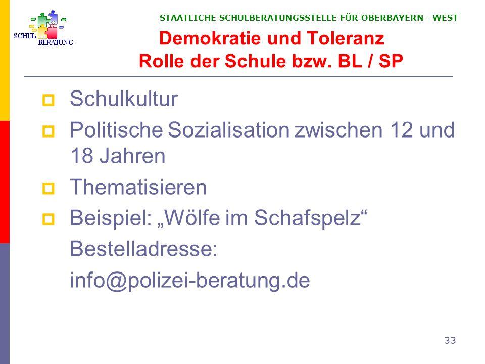 Demokratie und Toleranz Rolle der Schule bzw. BL / SP
