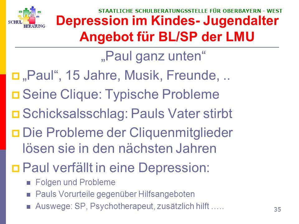Depression im Kindes- Jugendalter Angebot für BL/SP der LMU