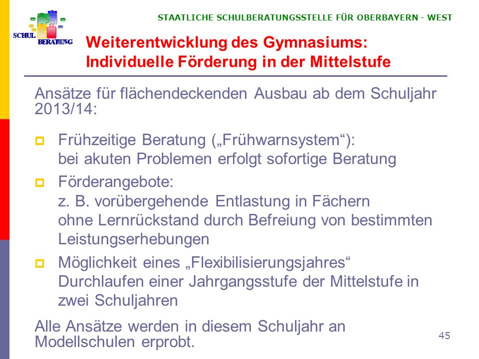 Weiterentwicklung des Gymnasiums: Individuelle Förderung in der Mittelstufe