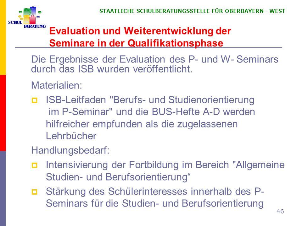 Evaluation und Weiterentwicklung der Seminare in der Qualifikationsphase