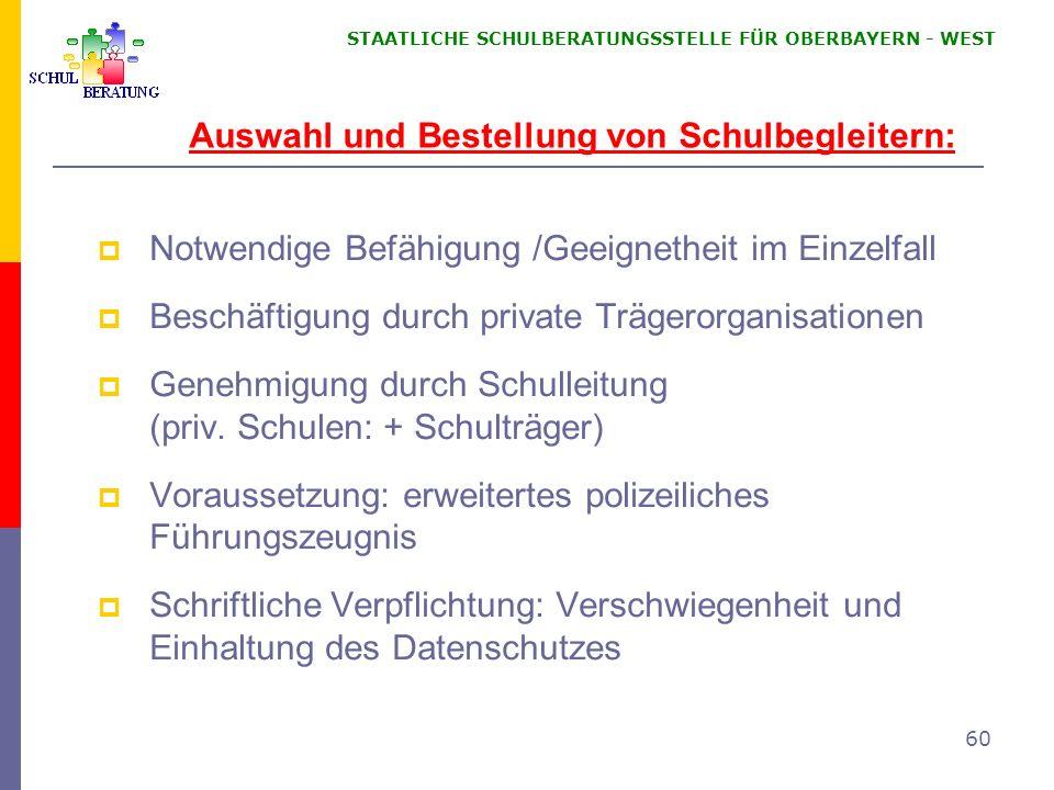 Auswahl und Bestellung von Schulbegleitern: