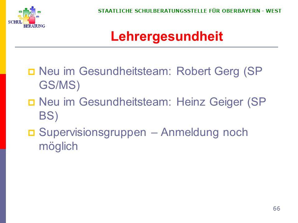 Lehrergesundheit Neu im Gesundheitsteam: Robert Gerg (SP GS/MS)