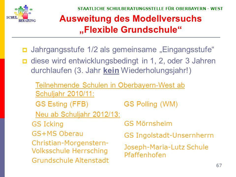 """Ausweitung des Modellversuchs """"Flexible Grundschule"""