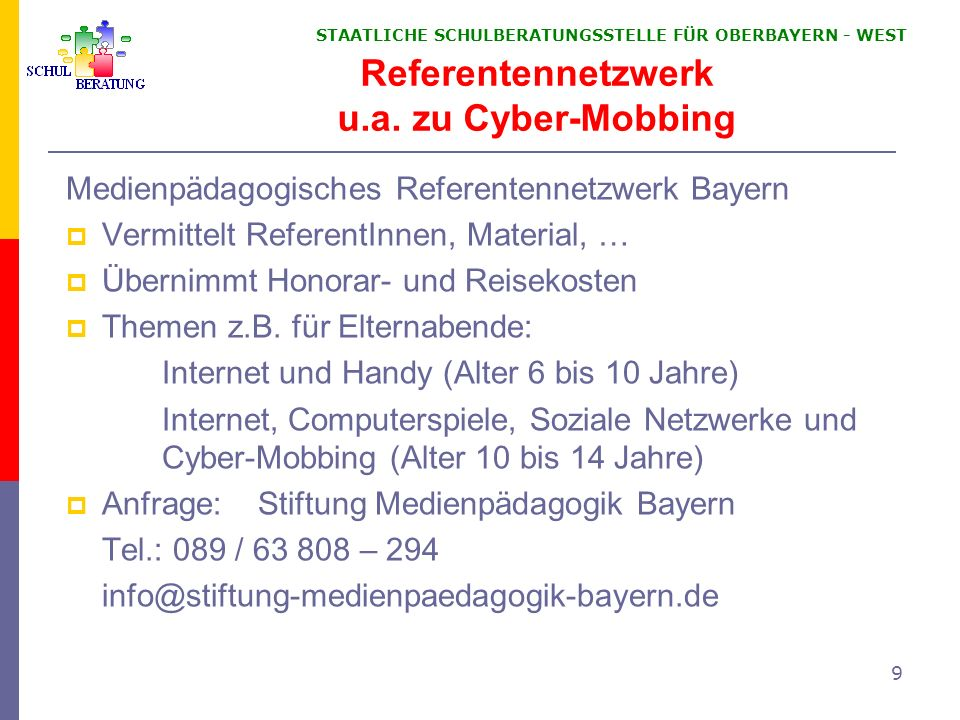 Referentennetzwerk u.a. zu Cyber-Mobbing