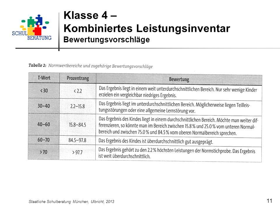 Klasse 4 – Kombiniertes Leistungsinventar Bewertungsvorschläge