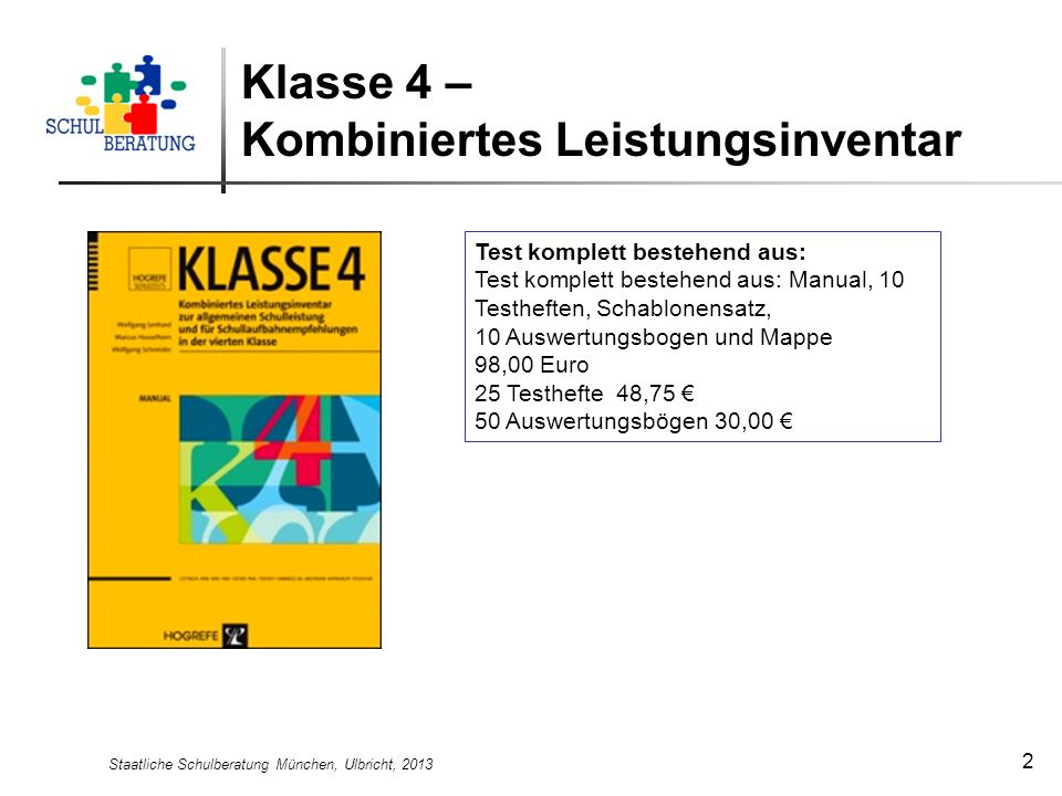 Klasse 4 – Kombiniertes Leistungsinventar