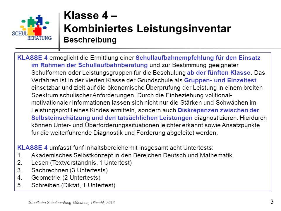 Klasse 4 – Kombiniertes Leistungsinventar Beschreibung
