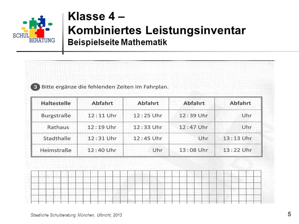 Klasse 4 – Kombiniertes Leistungsinventar Beispielseite Mathematik