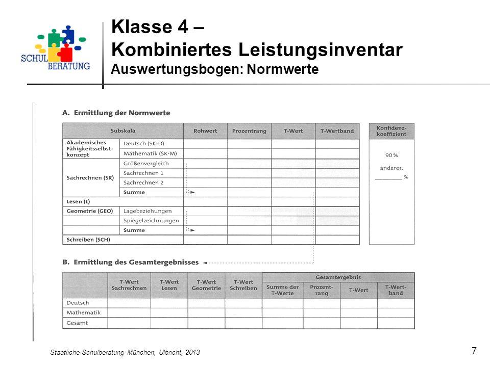 Klasse 4 – Kombiniertes Leistungsinventar Auswertungsbogen: Normwerte