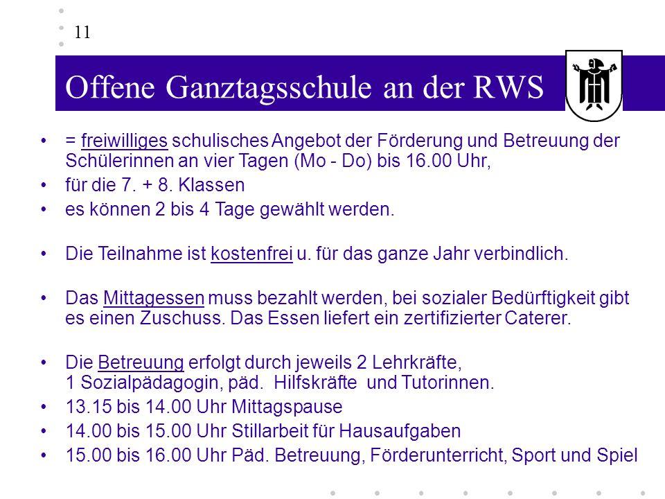 Offene Ganztagsschule an der RWS