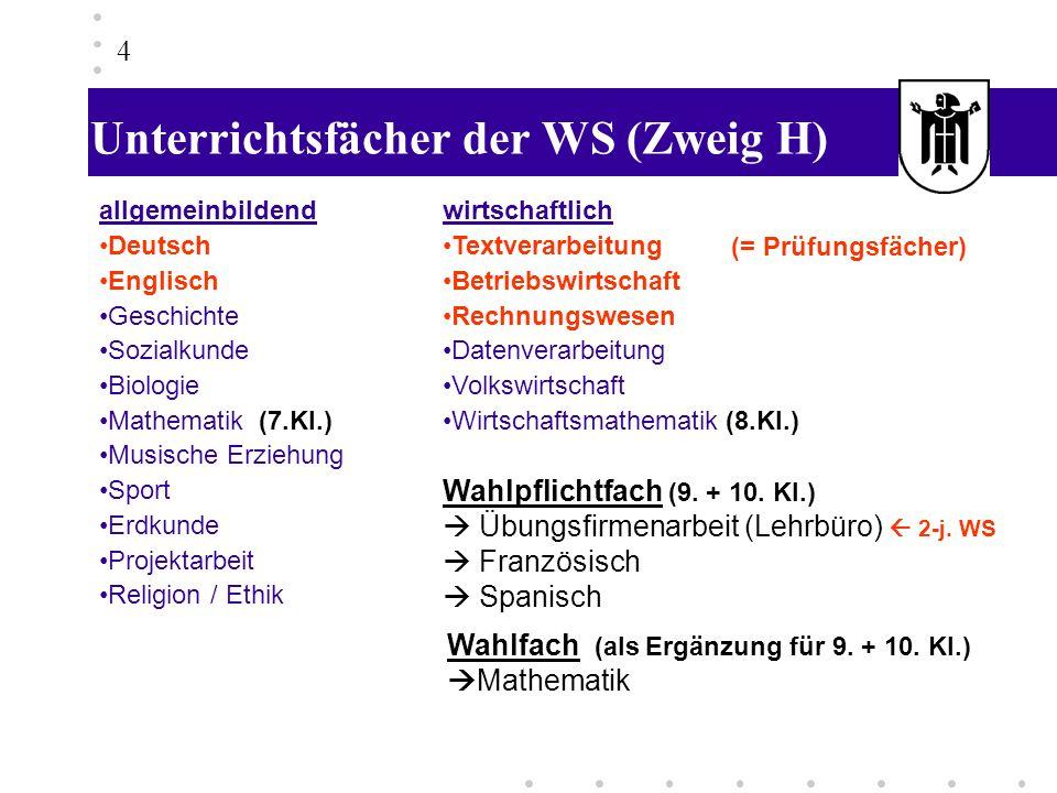 Unterrichtsfächer der WS (Zweig H)