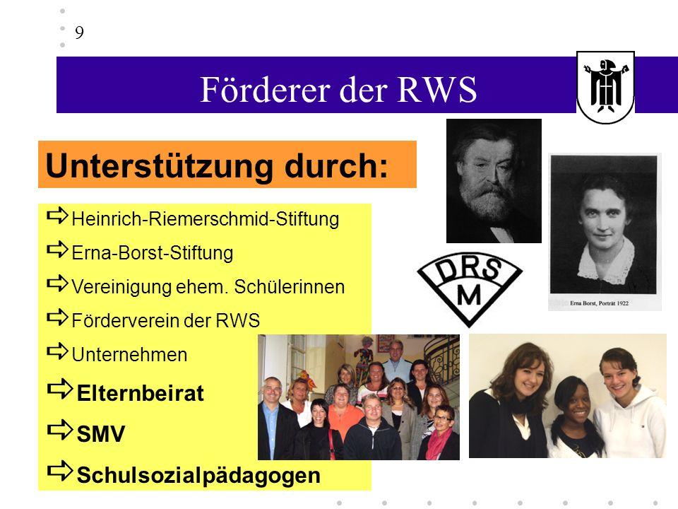 Förderer der RWS Unterstützung durch: Elternbeirat SMV