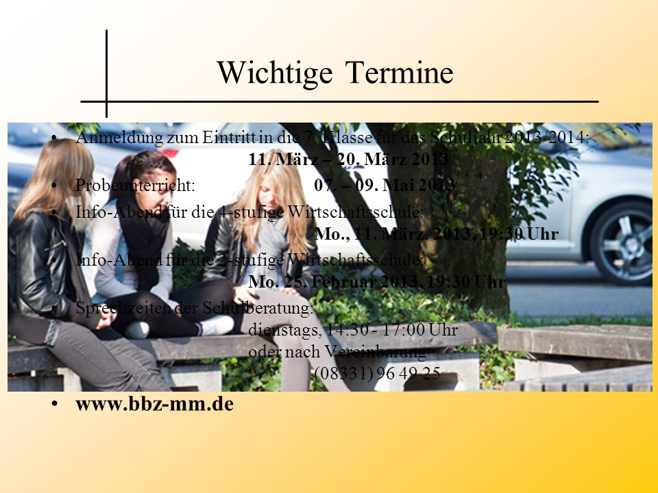 Wichtige Termine www.bbz-mm.de