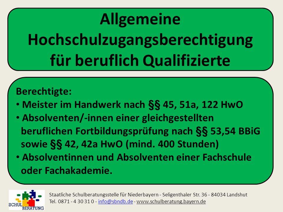 Allgemeine Hochschulzugangsberechtigung für beruflich Qualifizierte