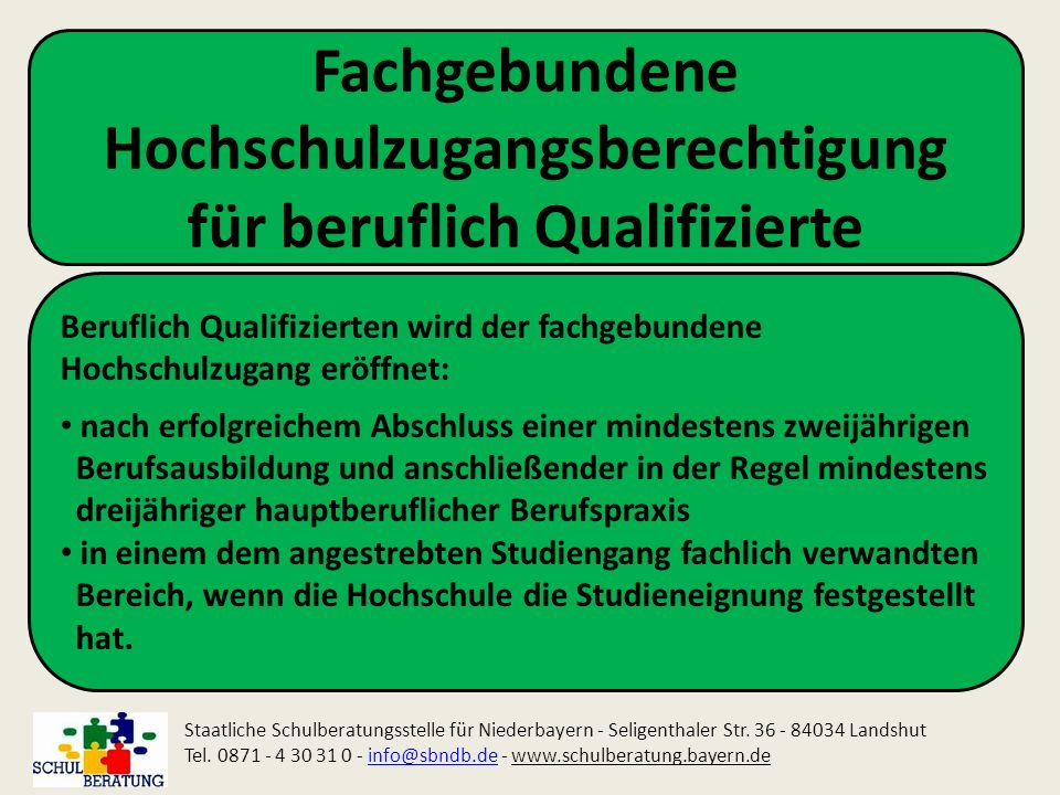 Fachgebundene Hochschulzugangsberechtigung für beruflich Qualifizierte