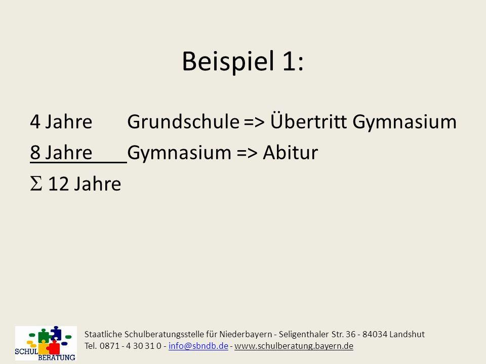 Beispiel 1: 4 Jahre Grundschule => Übertritt Gymnasium