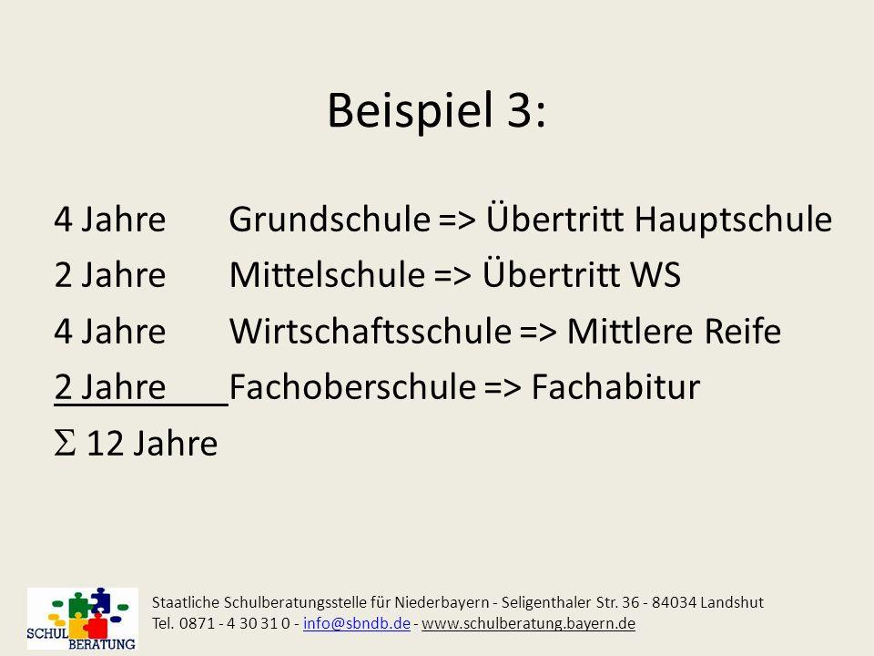 Beispiel 3: 4 Jahre Grundschule => Übertritt Hauptschule