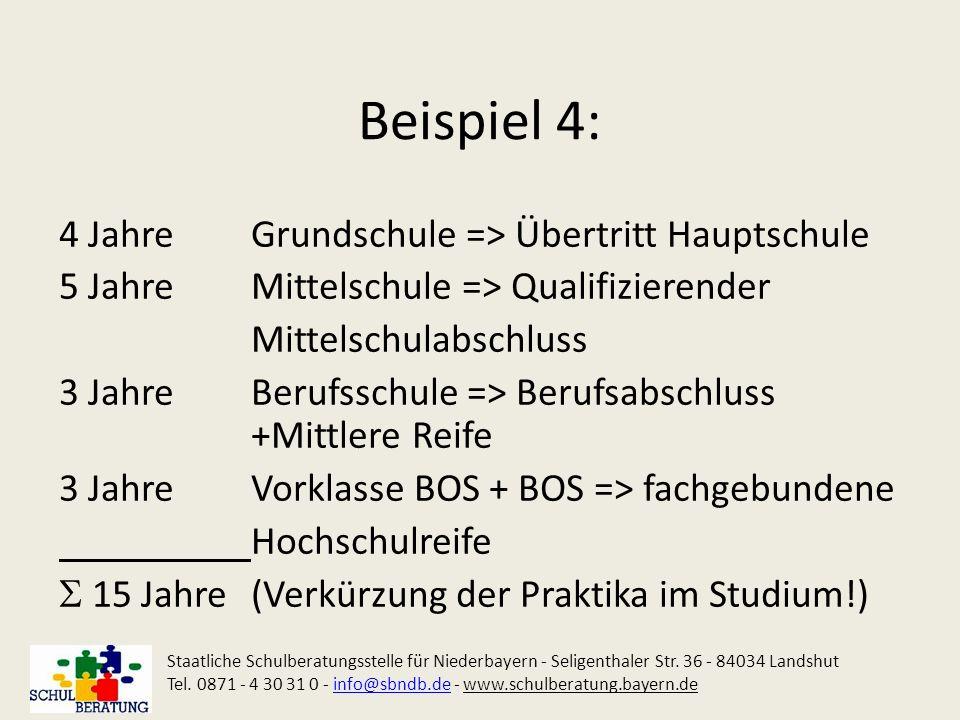 Beispiel 4: 4 Jahre Grundschule => Übertritt Hauptschule