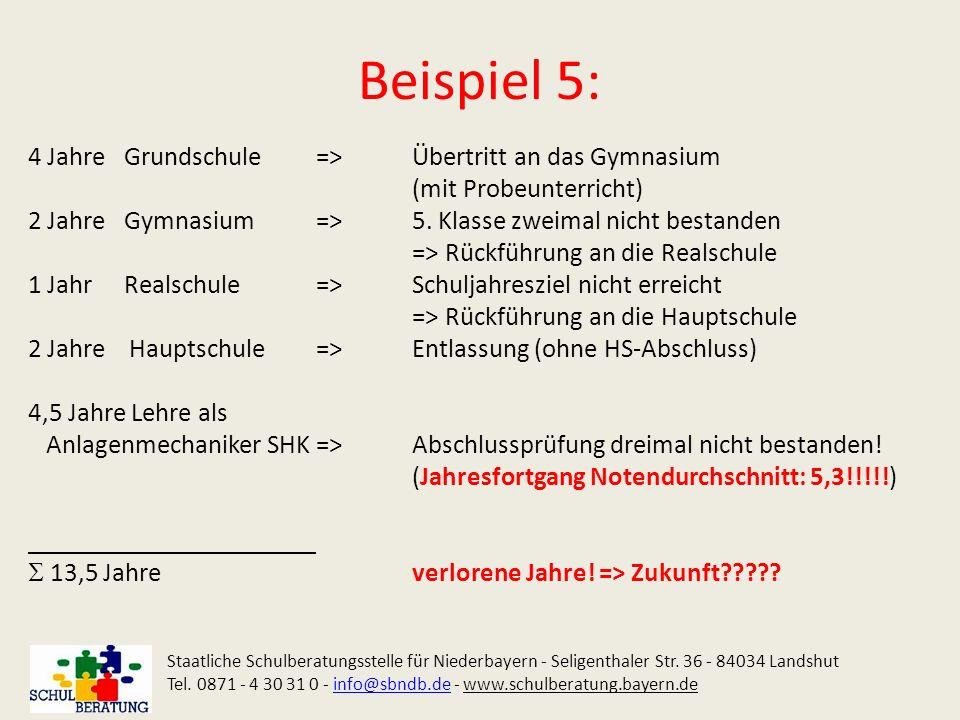 Beispiel 5: 4 Jahre Grundschule => Übertritt an das Gymnasium