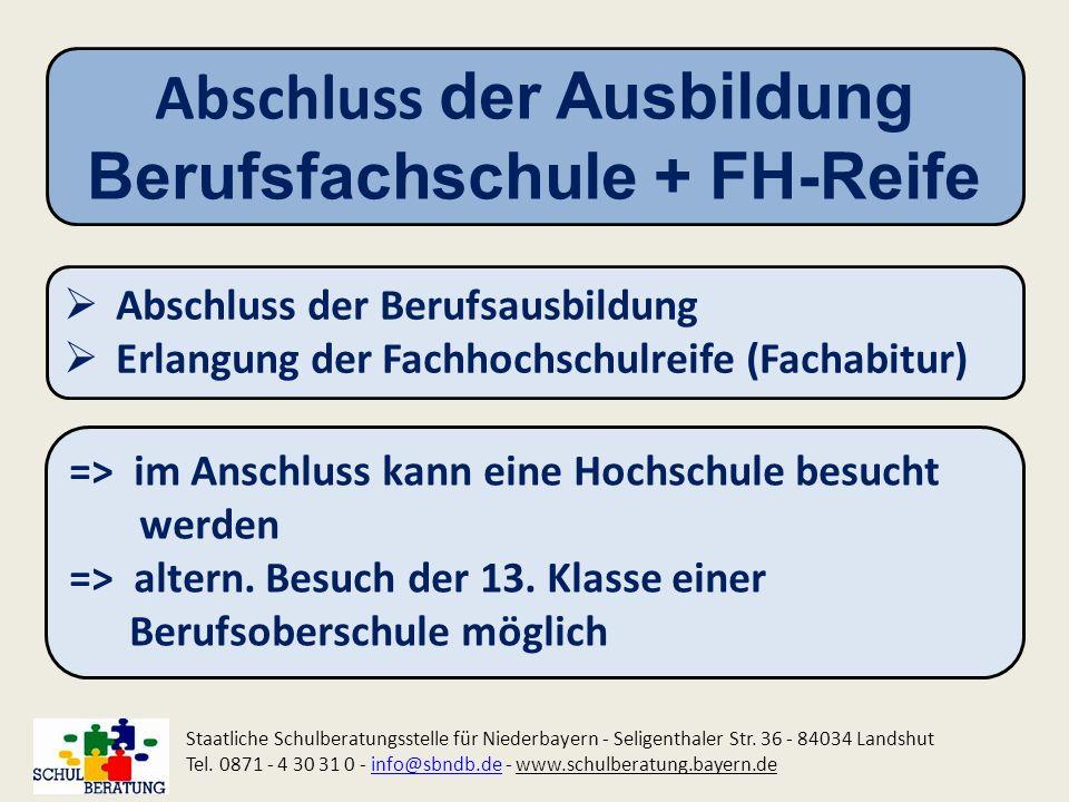 Abschluss der Ausbildung Berufsfachschule + FH-Reife