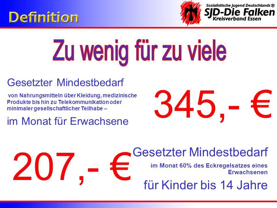 345,- € 207,- € Zu wenig für zu viele Gesetzter Mindestbedarf