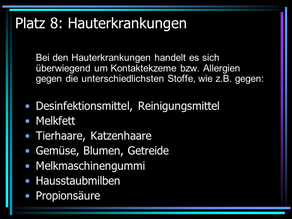 Platz 8: Hauterkrankungen