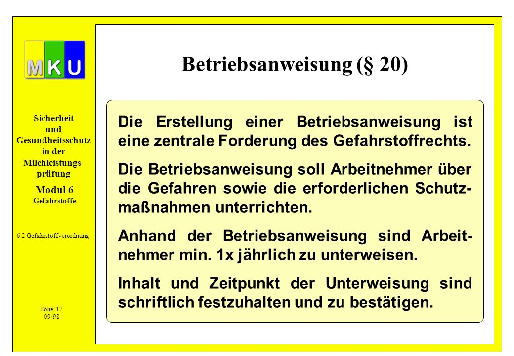Betriebsanweisung (§ 20)