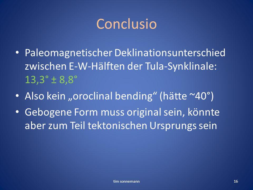 ConclusioPaleomagnetischer Deklinationsunterschied zwischen E-W-Hälften der Tula-Synklinale: 13,3° ± 8,8°