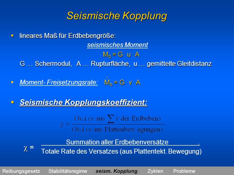 Seismische Kopplung Seismische Kopplungskoeffizient:  =