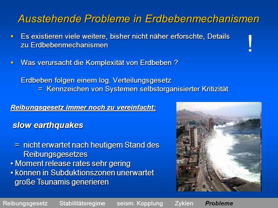 Ausstehende Probleme in Erdbebenmechanismen