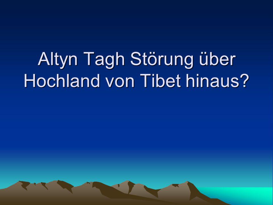 Altyn Tagh Störung über Hochland von Tibet hinaus