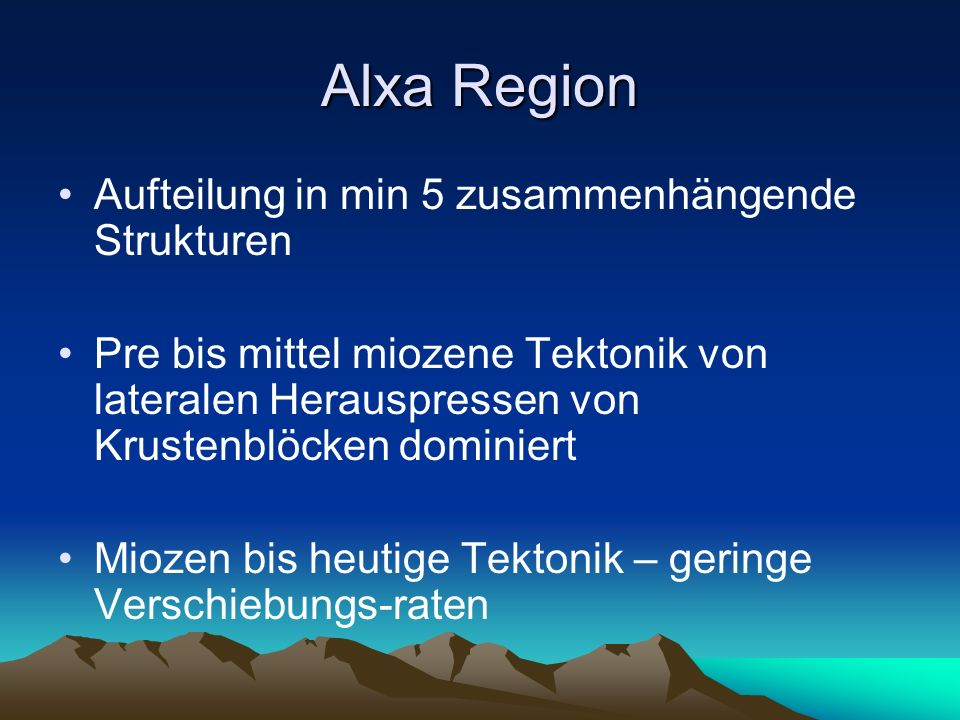 Alxa Region Aufteilung in min 5 zusammenhängende Strukturen
