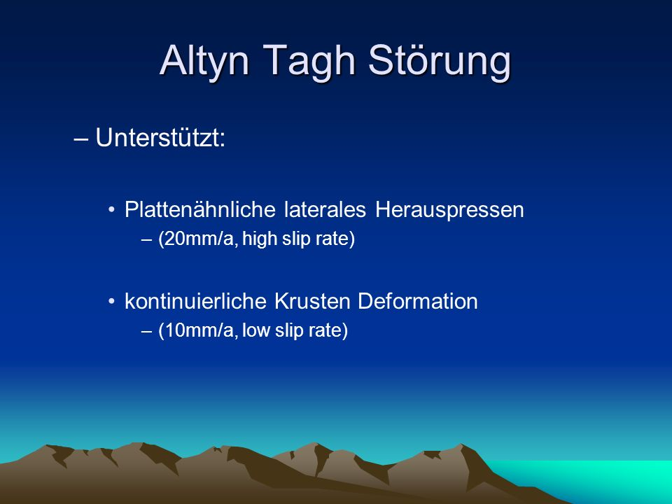 Altyn Tagh Störung Unterstützt: