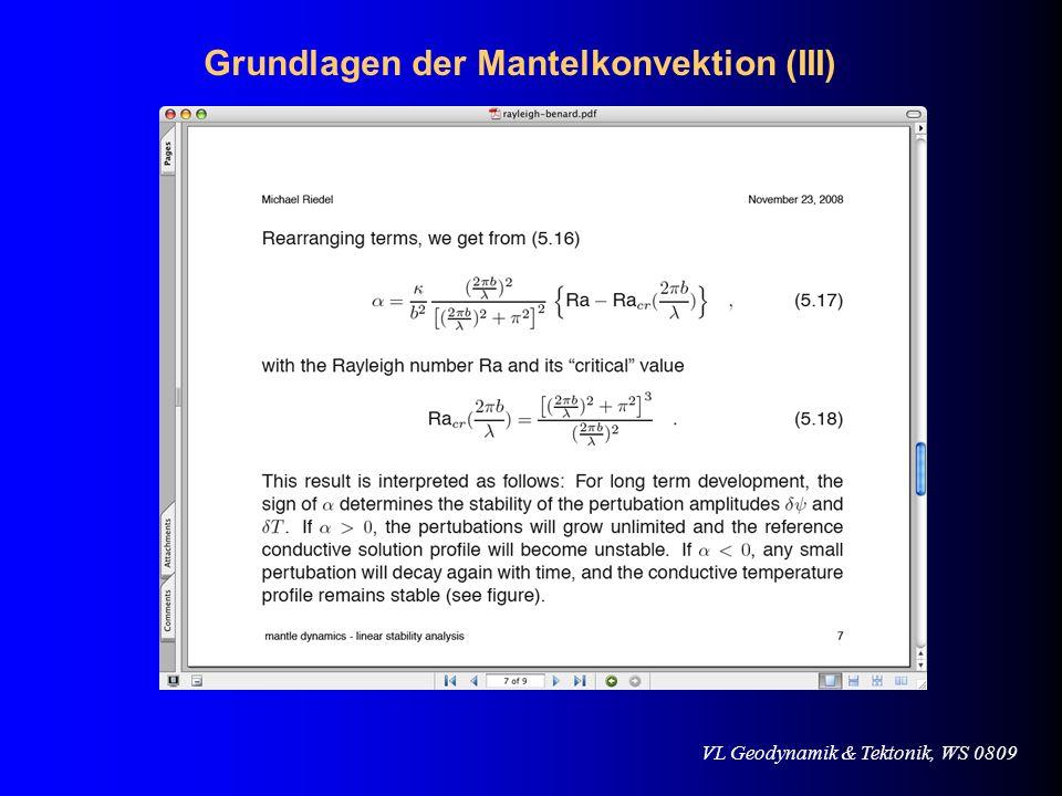 Grundlagen der Mantelkonvektion (III)