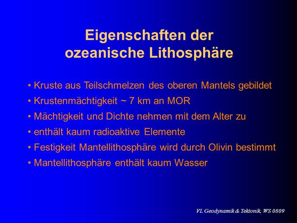 Eigenschaften der ozeanische Lithosphäre