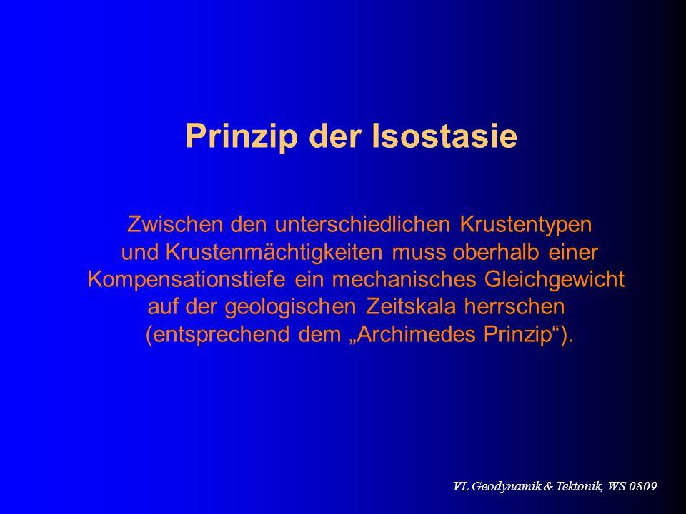 Prinzip der Isostasie Zwischen den unterschiedlichen Krustentypen