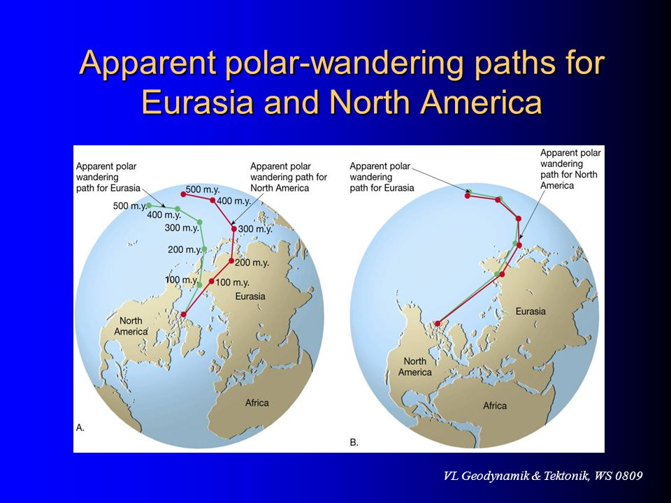 Apparent polar-wandering paths for Eurasia and North America