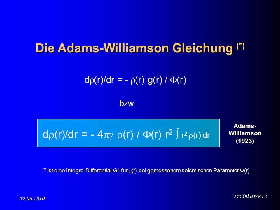 Die Adams-Williamson Gleichung (*)
