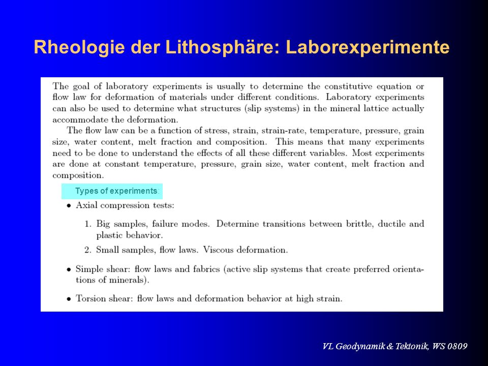 Rheologie der Lithosphäre: Laborexperimente