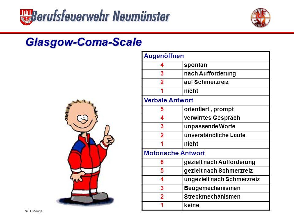 Glasgow-Coma-Scale Augenöffnen Verbale Antwort Motorische Antwort 4
