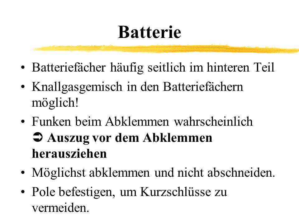 Batterie Batteriefächer häufig seitlich im hinteren Teil