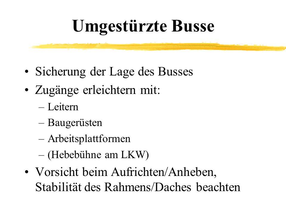 Umgestürzte Busse Sicherung der Lage des Busses