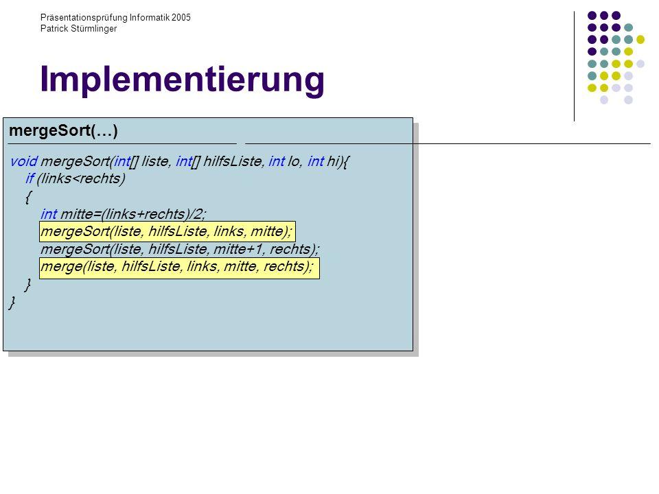 Implementierung mergeSort(…)