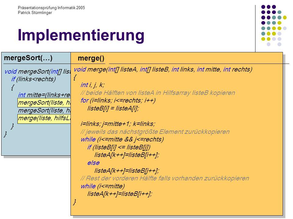 Implementierung mergeSort(…) merge()