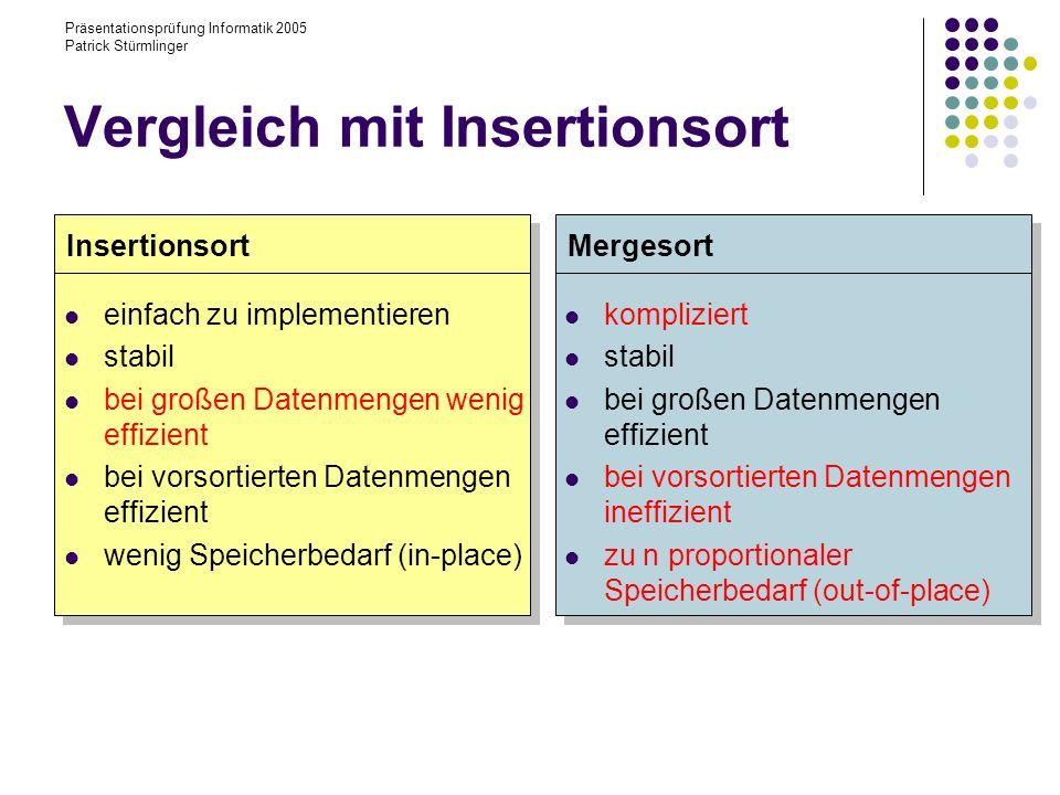 Vergleich mit Insertionsort