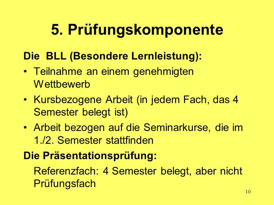 5. Prüfungskomponente Die BLL (Besondere Lernleistung):