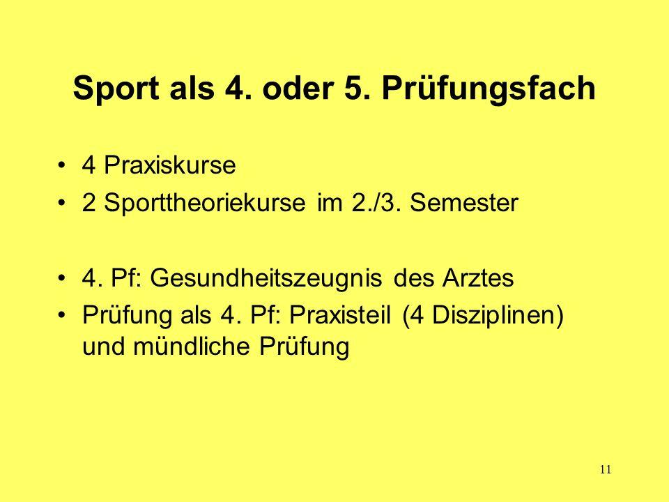 Sport als 4. oder 5. Prüfungsfach